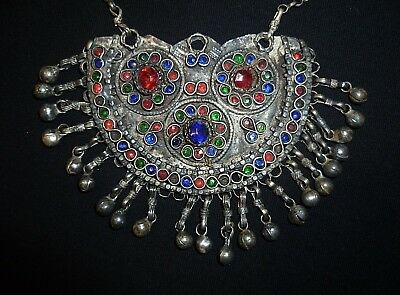 SCANDINAVIAN Ancient SILVER NECKLACE with GLASS DECORATION - Circa 1100-1300 AD