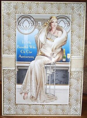Handmade Art Deco personalise Anniversary wife card classic lady in ivory & gold