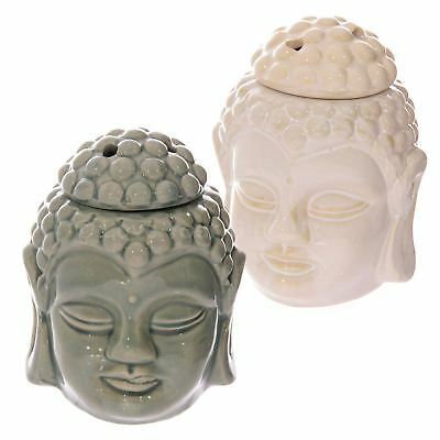 Crackle Glaze Thai Buddha Head Ceramic Oil Burner White or Green 12 cm High