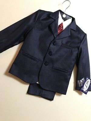 Lito Toddler Boys Suit  Size 5  Navy with Red Tie New with Tags Free shipping