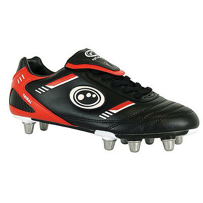 Optimum Tribal Lcst Adult Rugby Boots - Screw In Stud. Black/red. - Size 12.