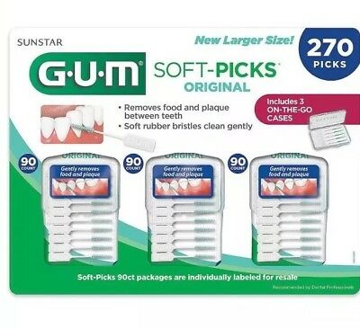 🔥 GUM Soft-Picks Sunstar 270 Picks 3 Travel Cases Rubber Bristles Tooth Picks