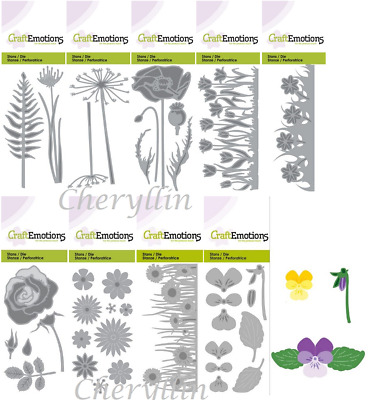 Craft Emotions Cutting Die - Mixed Flower, Poppy, Tulips, Rose, Violets & More!