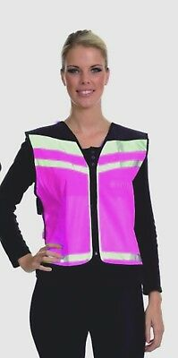 Equisafety HiViz Air Waistcoat Horse Riding / Cycling Reflective Safety Pink XL