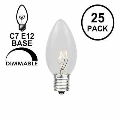25 Pack C7 Outdoor Christmas Replacement Bulbs, C7/E12 Candelabra Base