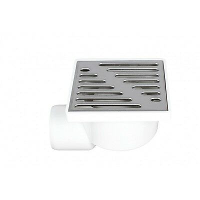 Floor Drain Square 100mm x 100mm / 50mm Side Pipe Connection Wet Room Shower 4
