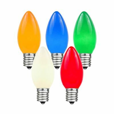 25 Pack C9 Outdoor Ceramic Christmas Replacement Bulbs, Multi, C9/E17 Base