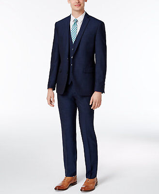 $698 BAR III men BLUE SLIM FIT 2 PIECE BUTTON WOOL SUIT JACKET BLAZER PANTS 40 R
