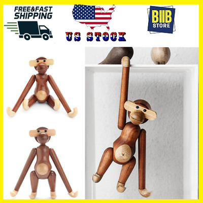 Wood Monkey Action Figure Denmark Design Animals Doll Teak Monkey Doll USA STOCK