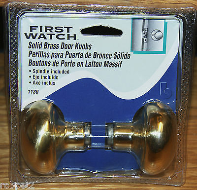 First Watch 2 Pack, Solid Brass Door Knob Set With Spindle 1130