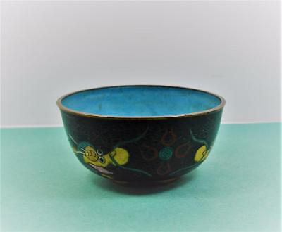 """Vintage Chinese Cloisonne bowl 4.1/2 """" wide x 2.1/8"""" high marked CHINA to base"""