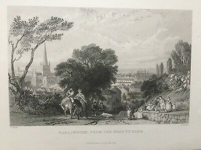 Art 1844 Dated Antique Print ~ Durham Castle Norman Doorway Lower Gallery Billings