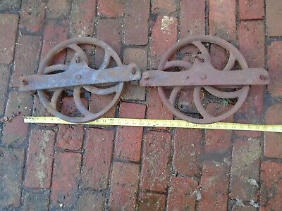 Vintage Bottom of the door  Barn Door Rollers  Very Rare Old blue and red...