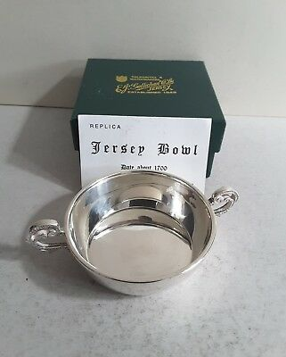 Good Vintage Solid Silver 2-Handle Bowl.  Copy Jersey Bowl.  London. 1991.