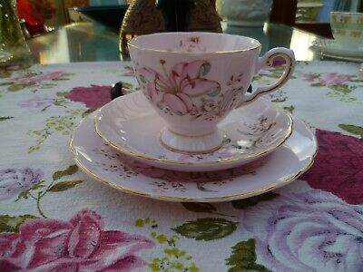 Lovely Vintage Tuscan English China Trio Tea Cup Saucer Pastel Pink Lily 1224