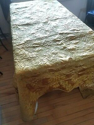 Antique Textile Museum Quality Bedspread Satin, Embroidered, Beaded W Extra Sash