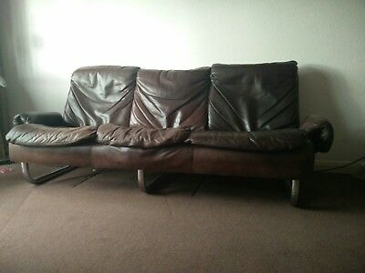1970s Vintage Danish Brown Leather 3 Seater Sofa Settee