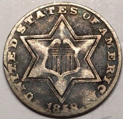 1858 3C Three Cent Silver
