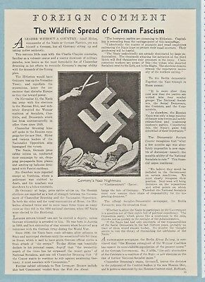 "Vintage 1931 Editorial: ""THE WILDFIRE SPREAD OF GERMAN FASCISM"", Hitler & Nazis"