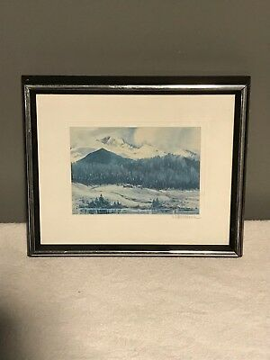Beautiful Mountain Artwork by E.E. Hermann, Framed and in Great Condition