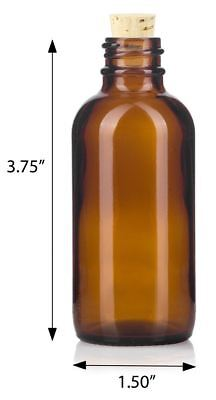 2 oz Amber Glass Boston Round Bottle with Cork Stopper + Funnel and Labels
