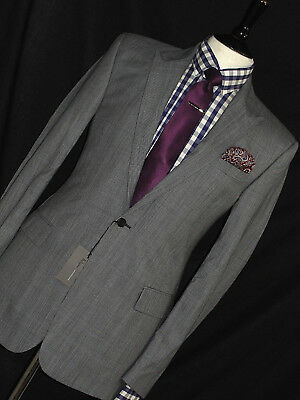 Bnwt Mens Kilgour Savile Row Grey Prince Wales Custom-Made Bespoke Suit 38R W32
