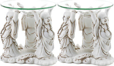 2 happy fat lucky white Buddha statue Wax Tart oil warmer diffuser candle holder