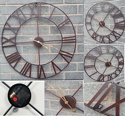 Large Roman Garden Wall Clock Numerals Giant Rustic Metal With Gold Hands