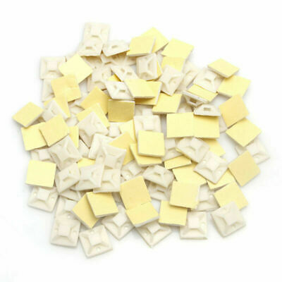100 Pcs Self Adhesive Cable Tie Mount Base 20 x 20 x 6mm