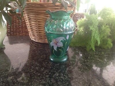 Signed Fenton Green Glass Vase Flowers Painted In Usa