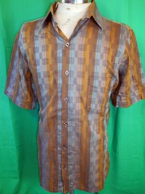 Vintage 60s 70s Green & Brown Cotton Crystal Clubs Short Sleeve Casual Shirt L