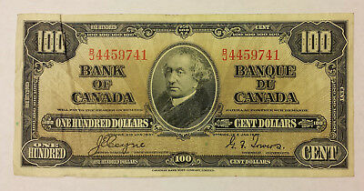 Bank of Canada 1937 $100 Coyne/towers in F+ condition  B131
