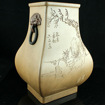 Interesting Signed Yixing Clay Poem Vase Ware W/ Mark Calligraphy Lion Heads