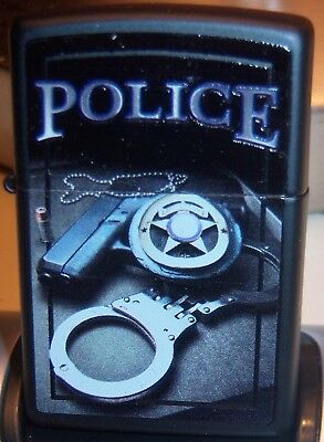 Zippo Black Police With Badge And Handcuff Lighter Mint