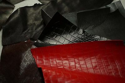 Assorted scrap leather cowhide pieces Reptile/Weave textures cow hide off-cuts
