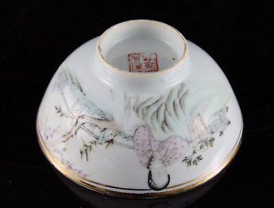 Excellent 20th C. Chinese Porcelain Bowl Famille Rose Seal Mark Calligraphy