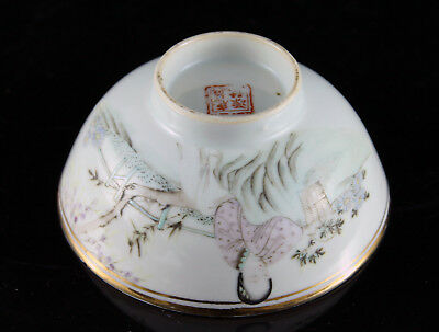 Fine Vintage Chinese Porcelain Bowl Famille Rose Seal Mark Calligraphy