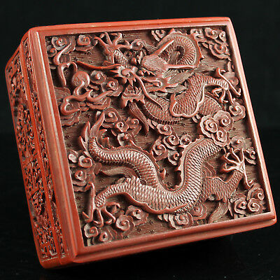 V. Fine 19Thc Chinese Imperial Dragon Carved Red Cinnabar Lacquer Square Box