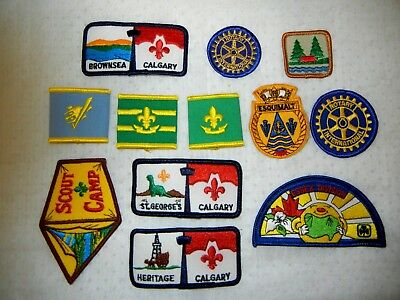 BOY SCOUT BSA LOT of  PATCHES WOGGLE X TWELVE (12) SCOUTS CANADA & USA