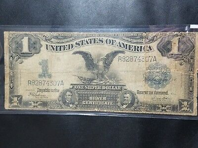 1899 $1 Silver Certificate Black Eagle Large Note Currency