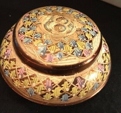 Chinese Floral Flower Cloisonne Enamel On Brass Trinket Box And Lid Hand Painted