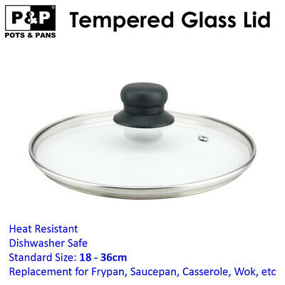 Tempered Standard Fry Pan Saucepan Pot Wok Replacement Glass Lid 18 - 32 cm