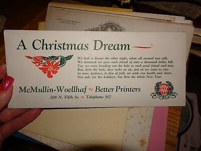 McMullin-Woellhaf Better Printing Burlington, Iowa Christmas Ink Blotter