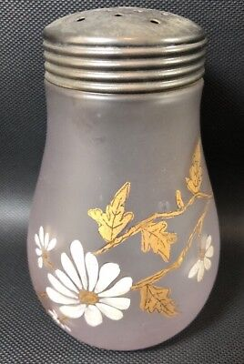 Hand Painted Daisy White & Gold  Sugar Shaker Frosted Satin Glass Muffineer 13I