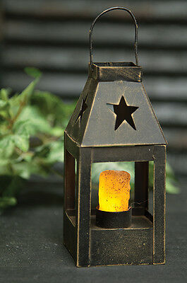"7"" Reproduction Colonial Lantern, Timer Candle, Star Cut-out, New, Primitive"