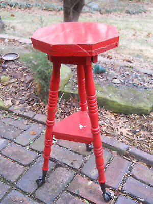 Vtg Country Red 3 Legged Candle/Plant Stand-Wood Table-Cast Iron Claw/Ball Feet