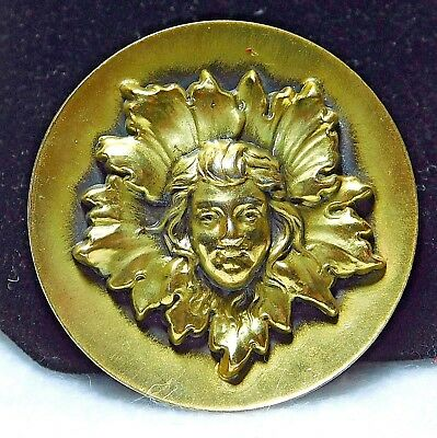 VERY Large ANTIQUE Brass Button Girl in LEAVES ESCUTCHEON 1 & 9/16""