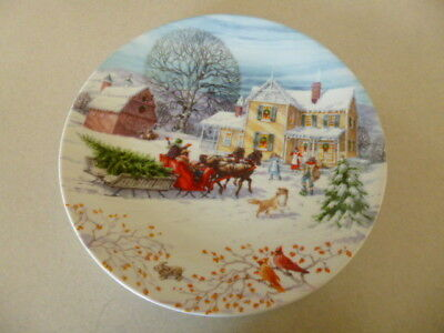 """8 1/2"""" lenox Collectors Plate American Christmas Bring Home the Tree"""
