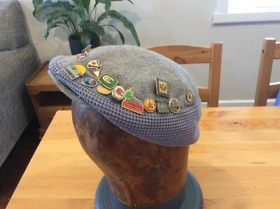 Vintage Retro Mens Beret Flat Hat; With Pins; Badges; Sailors Or Train Hat