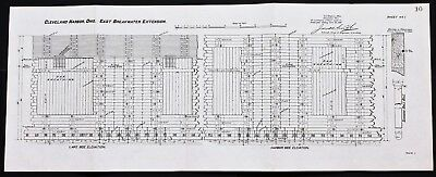 1898 Cleveland Ohio Map Plan Breakwater Engineering Army Corp Survey ORIGINAL